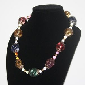 LARGE vintage colorful beaded necklace